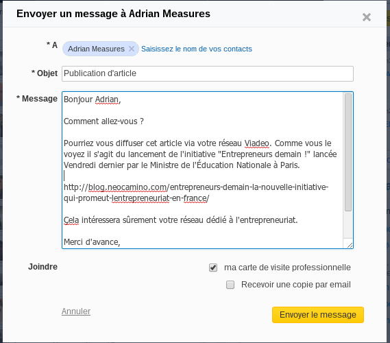 Demander à des contacts de publier un article sur Viadeo Screenshot 2013 10 24 at 18.01.01