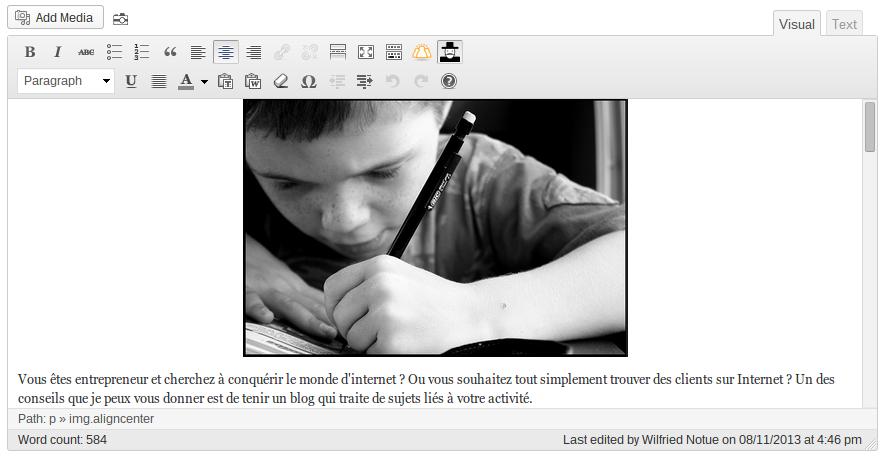 Comment écrire un article de blog sur WordPress ? Contenu