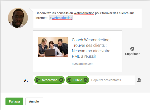 Comment poster sur Google plus une page de son site internet en 4 étapes Screenshot 2013 11 15 at 11.23.37