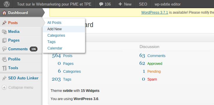 Comment écrire un article de blog sur WordPress ? Tableau de bord nouvel article