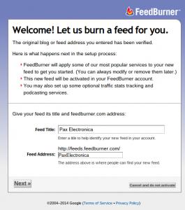 Créer un flux RSS pour son blog avec Feedburner FeedburnerEtape3 265x300