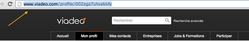 Récupérer son adresse de page ou de profil sur les réseaux sociaux Capture d'écran URL VIADEO