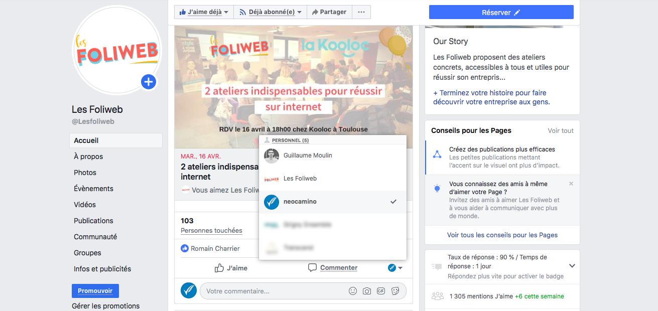 écrire-un-commentaire-avec-page-facebook-entreprise