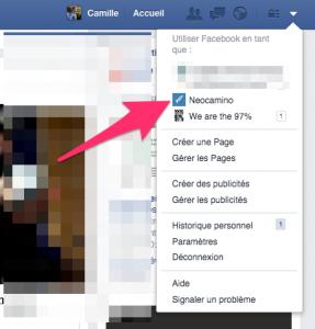 Publier en tant que page Facebook